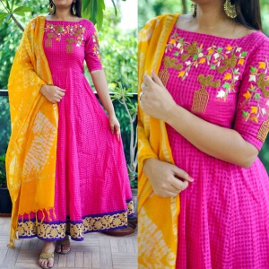 Embroidered Pink Colored Festive Wear Salwar Suit