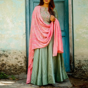 Beautiful Green Color Embroidered Suit With Dupatta