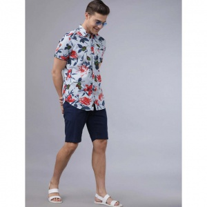 Men Sky Blue With Floral Printed Slim Fit  Casual Shirt